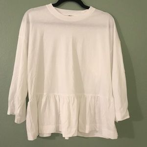 Aritzia Wilfred 3/4 Sleeve white Peplum Shirt